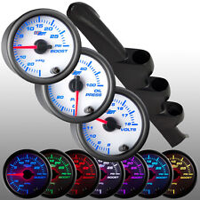 03 - 04 Ford Mustang Triple Gauge Pod 52mm w. 3 White 7 Gauges Package