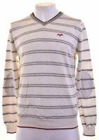 LOTTO Mens V-Neck Jumper Sweater Large White Striped Cotton  MC06