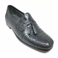 Men's Brass Boot Loafers Shoes Size 8.5 D Black Genuine Caiman Alligator H15