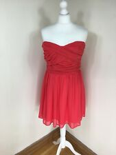 Asos Coral Orange Strapless Dress Prom Bustier UK16 Party Short Mini (P)