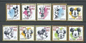 ˳˳ ҉ ˳˳G150 Japan Greeting Mickey Mouse ¥82 2017 used complete set 日本