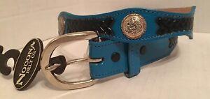 """VTG Nocona Girls Leather Belt Turquoise Concho Boho Chic Southwestern 26"""" USA"""
