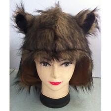 BROWN FUR ANIMAL HOOD HAT WITH EARS-CAT-BEAR-MONSTER