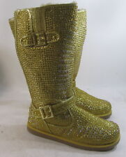 Urban Glitter High Gold Rhinestones Winter Mid-Calf Sexy Boot Size 7.5