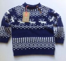 BNWT BABY JOHN LEWIS JUMPER NAVY BLUE/WHITE PATTERNED WITH REINDEER AGE 3-6 Mont