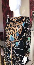 VINTAGE LEONARD PARIS Mikado Silk Jersey Dress - Exotic Animal Print Size M US 6