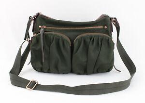 MZ Wallace Olive Green Nylon Leather Trim Crossbody Shoulder Bag