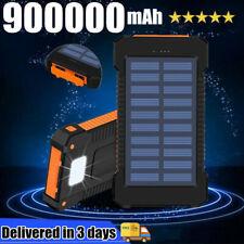 900000mAh Solar Power Bank External Battery Charger 2 USB LED for Phone Portable