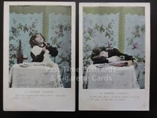 Early c1900 French Set of 2 Postcards LA PREMIERE CIGARETTE Showing Boy Smoking