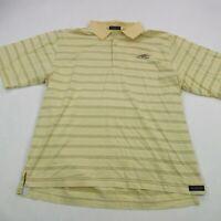 Peter Millar Mens Polo Shirt Yellow Short Sleeve Button Stripes Large Golf