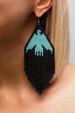 Native American Beaded Earrings Inspired. Extra Large Earrings with Eagle
