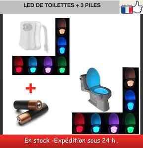 Led à détecteur de mouvement 8 couleurs + piles pour wc abattants wc lunettes