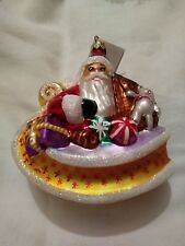 Christopher Radko 1996 Sleighful Santa Toy Sleigh Glass Christmas Ornament 5""