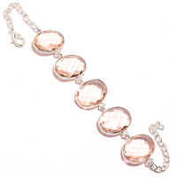 Faceted Morganite  Gemstone 925 Solid Sterling Silver Jewelry Bracelet 7-8""