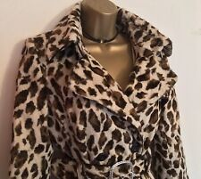 KAREN MILLEN Leopard Pony Faux Fur Trench Coat RRP£350 UK 12 Ladies GIFT