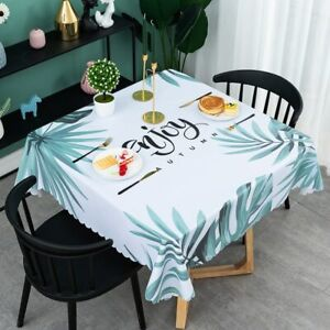PVC Waterproof Table Cloth Square Tablecloths for Home,Nordic Tropical Leaf