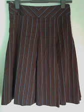 Whistles High Waisted Pleated Skirt Small Stripes Brown Size 10 Cotton Blend