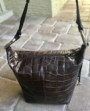 Hip & Chic Puntotres Dark Brown Alligator Embossed Leather Shoulder Bag