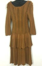 Anthropologie Knitted and Knotted Dress Medium Brown Crochet Tiered Scoop Back