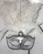 WHITE & SILVER FEATHER MASK & STICK VENETIAN CARNIVAL MASQUERADE PARTY MASK