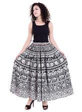 Indian Skirt Elephant Mandala Print High Waist Pleated Beach Boho Maxi Dress