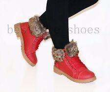 LADIES WOMEN ANKLE BOOTS COMBAT FLAT GRIP SOLE BOOTS FUR LINED WINTER SHOES SIZE