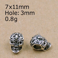 Genuine 925 Sterling Silver Non-plated Vintage Celtic Skull Bead Charm WSP221
