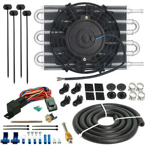 6 ROW AN6 TRANSMISSION OIL COOLER ELECTRIC FAN 180'F FIN PROBE THERMO SWITCH KIT
