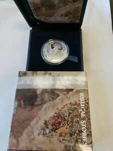 MOSES CROSSING THE RED SEA BIBLICAL STORIES 1/2 OZ SILVER PROOF COIN IN BOX