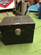 Mid Century industrial metal storage hanging file box vintage large scrapbooking