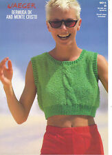 Jaeger Bermuda DK and Monte Cristo KNITTING PATTERN cropped vest w/ cable 5611d