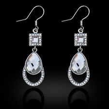 VINTAGE INSPIRED SILVER PLATED CLEAR SPARKLING CUBIC ZIRCONIA DANGLE EARRINGS