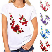 FJ- 2Pcs Flower Embroidery Sew On Iron On Patch Badge Bag Clothes Applique Craft
