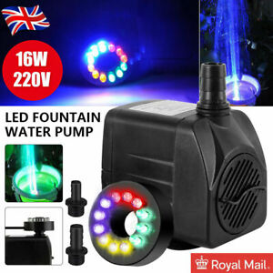 800L/H Electric Water Feature Pump Fountain Outdoor Garden Fish Pond 12 LED UK