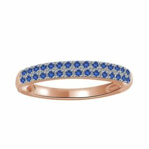 0.15 Ct Blue Sapphire 10K Rose Gold Wedding Band/Anniversary Ring Size 5-10