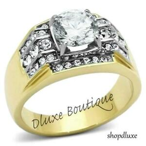 3.35 CT ROUND CUT AAA CZ 14K GOLD PLATED STAINLESS STEEL RING MEN'S SIZE 8-14