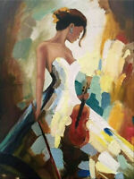 ENOPT709 handmade paint charm naked girl/&violin oil painting art on canvas