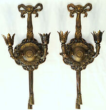 "Vtg 20"" Pair French Bronze Dore Caldwell Bow Tassel Neoclassical Wall Sconces"