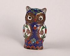 Vintage Cloisonne Brass Enamel Owl Statue Figurine,Chinese