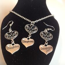daughter and heart necklace and matching hook earrings silver plated
