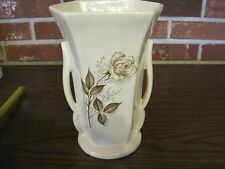 VINTAGE MCCOY USA VASE WITH HANDLES AND A BROWN ROSE