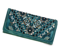 Montana West® Embroidered Country Rose Secretary Style Wallet w/ Coin Kiss lock