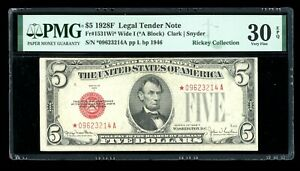 DBR 1928-F $5 Legal Wide I STAR Fr. 1531Wi* PMG 30 EPQ Serial *09623214A