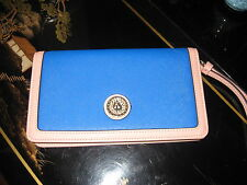 New Anne Klein Royal Blue & Pink Wallet-Wristlet with Gold & Polka Dot Interior