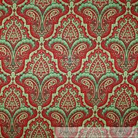 BonEful FABRIC FQ Cotton Quilt Green Red White Paisley Flower Damask Stripe Sale