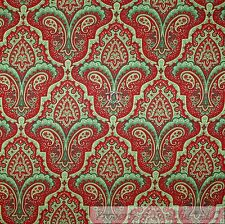 BonEful FABRIC Cotton Quilt Green Red White Paisley Flower Damask Stripe L SCRAP