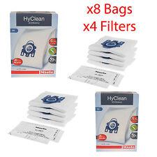 Genuine Miele GN HyClean 3D Aspirapolvere Hoover Polvere Sacchetti X8 & 4 x FILTRI