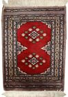 Handmade vintage Uzbek Bukhara rug 1.6' x 2.1' ( 50cm x 65cm ) 1970 - 1C320