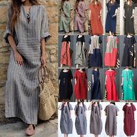 Women Cotton Linen Long Maxi Tunic Kaftan Dress Summer Short Sleeve Pocket Loose