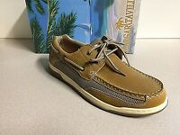 Margaritaville Men's Leather Casual Lighouse Wharf Boat Shoes New Size 11.5 Tan